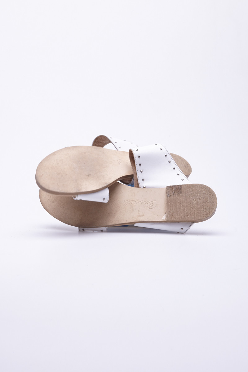 Cartel White Leather Studded Sandals
