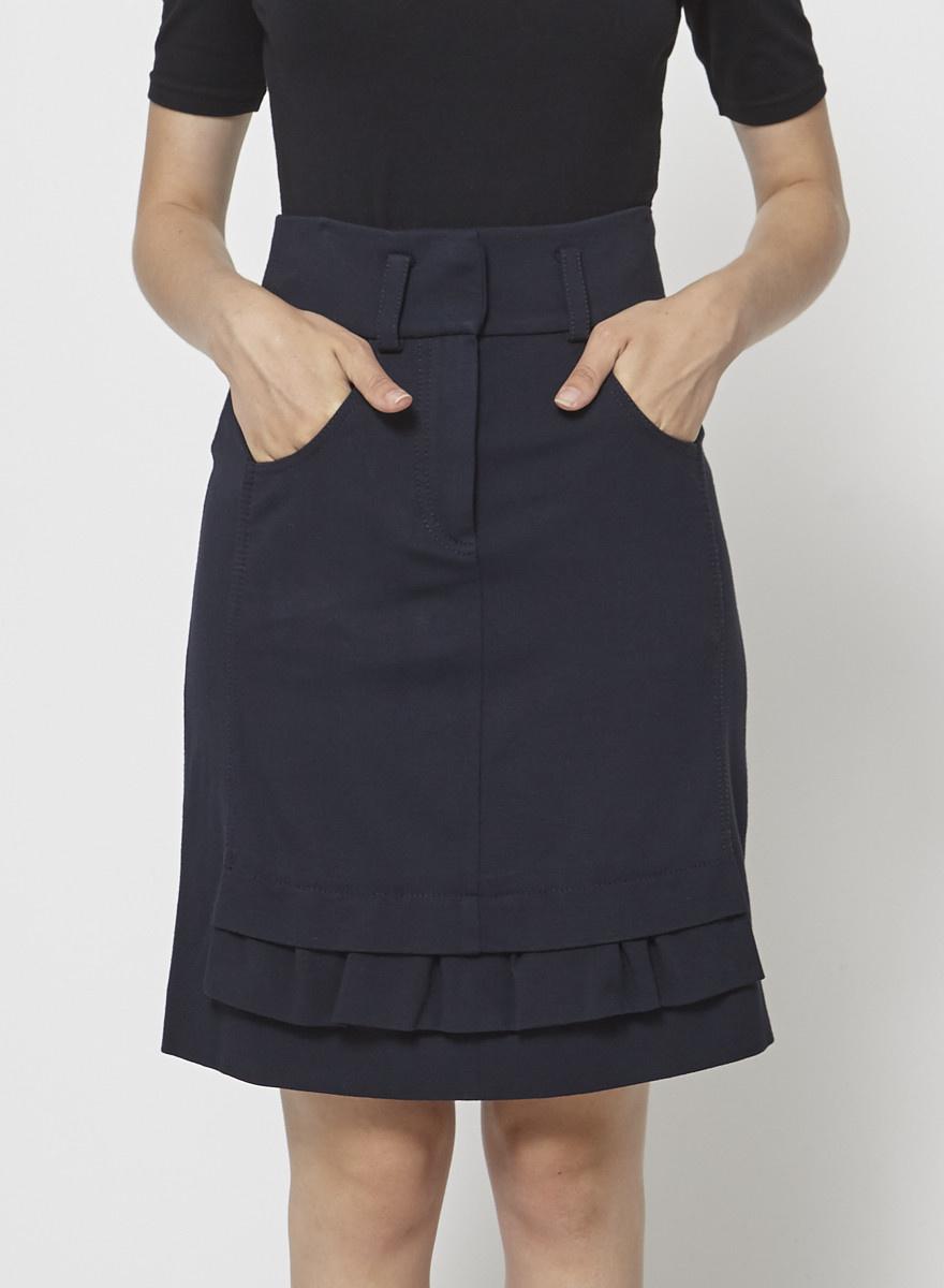 Sonia by Sonia Rykiel Navy Ruffled Skirt