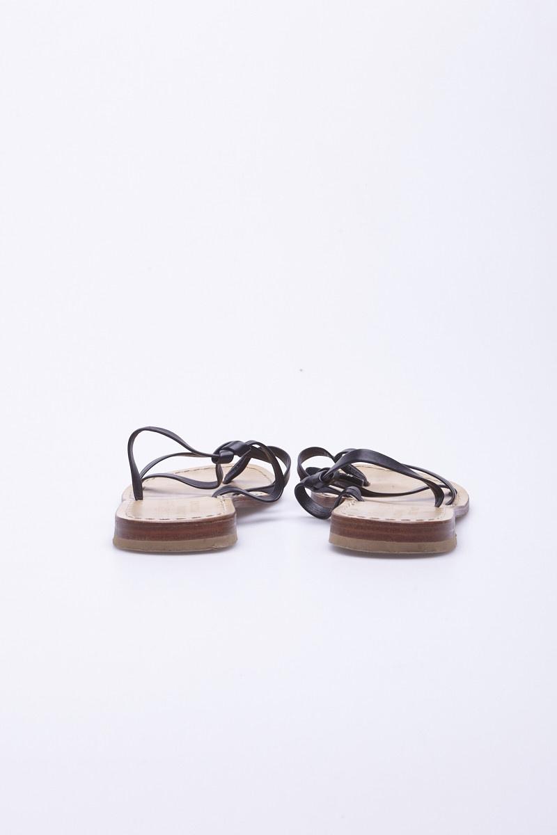 La Botteguccia Da Giovanni Positano Black Leather Sandals