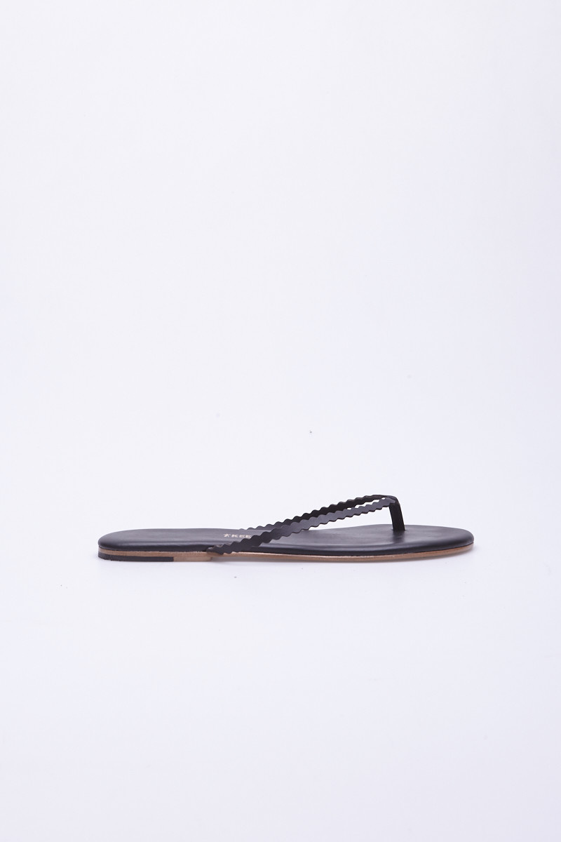 TKEES Black Wavy Strap Sandals