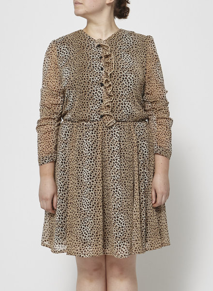 Eve Gravel LEOPARD-PRINT RUFFLED DRESS
