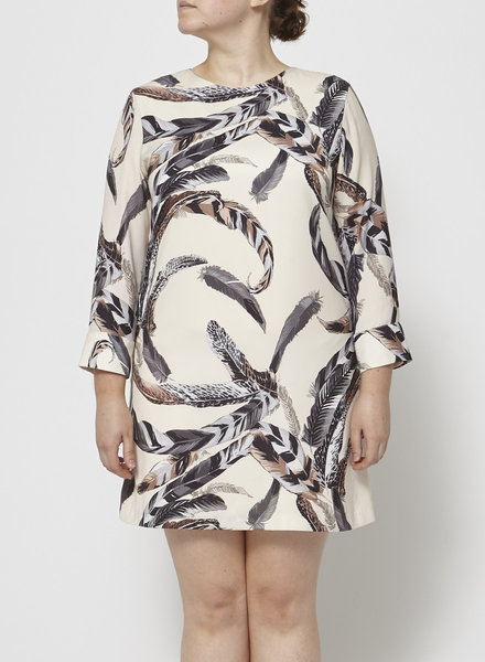 Eve Gravel CREAM FEATHER-PRINT DRESS