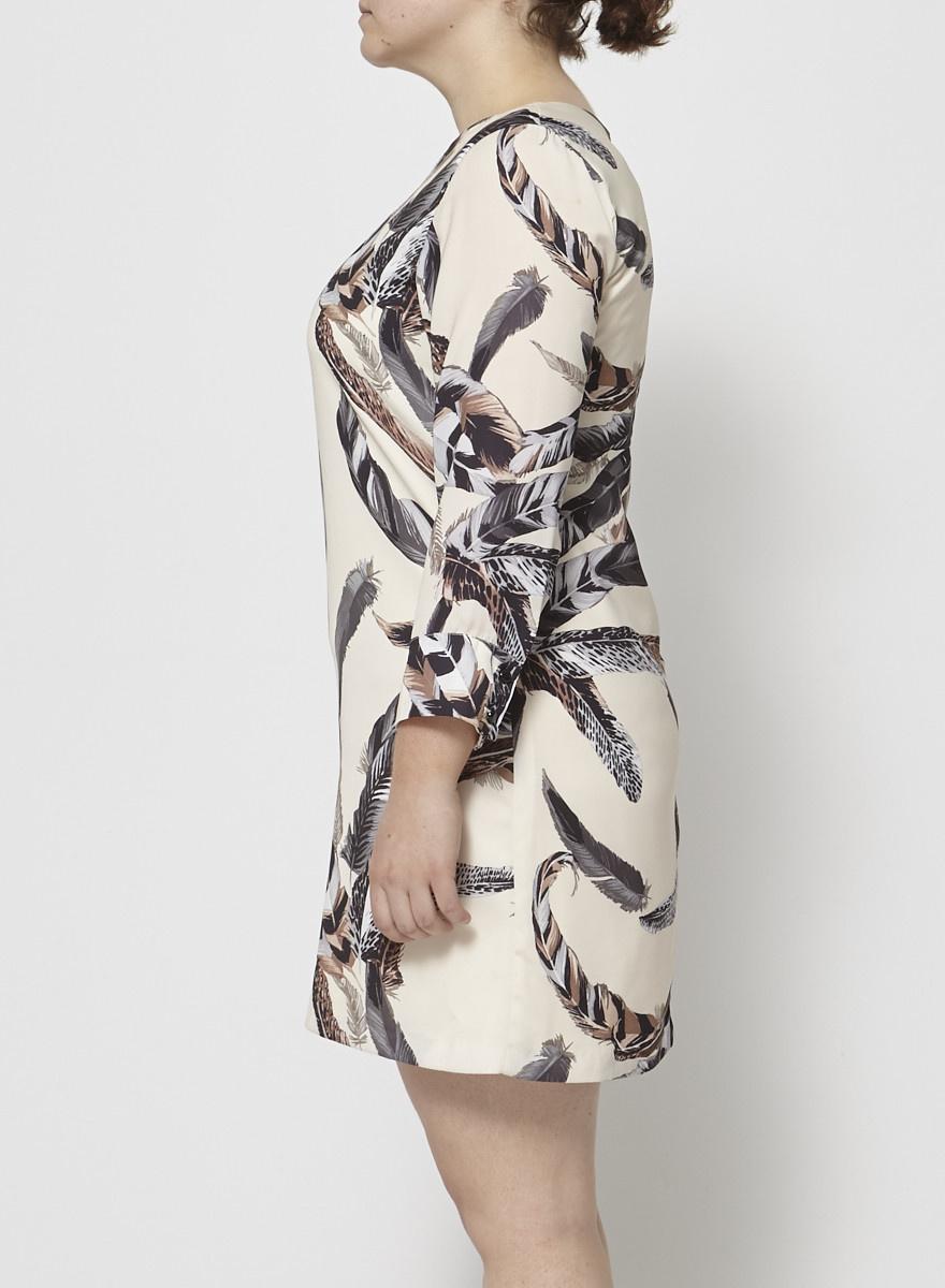 Eve Gravel Robe crème à motifs plumes