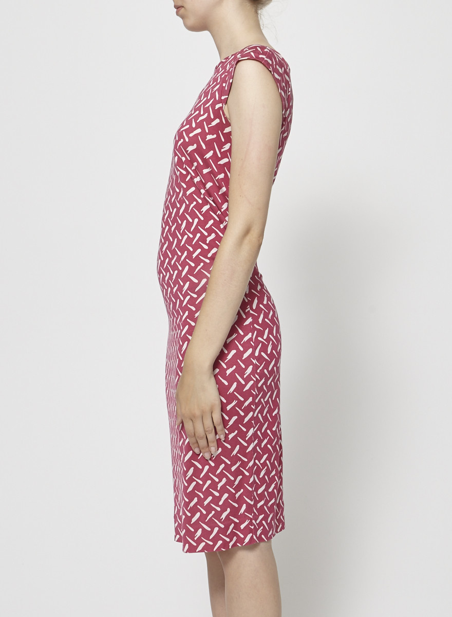 Diane von Furstenberg Fuchsia Silk Printed Dress
