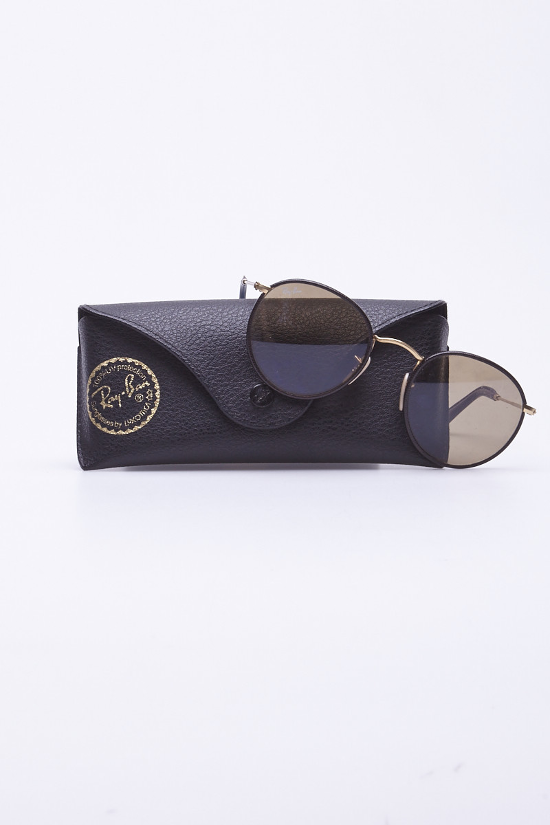 Ray-Ban Brown Leather Round Sunglasses