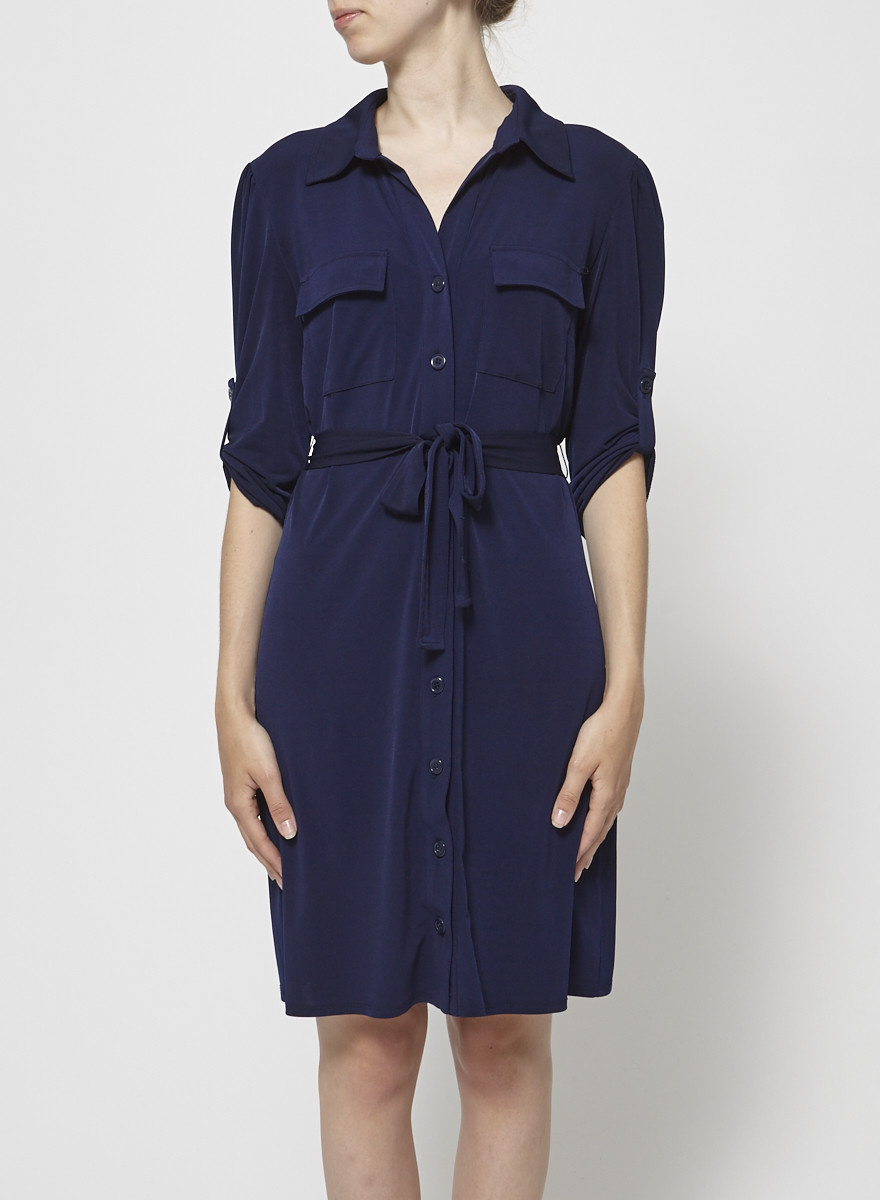 Laundry by Shelli Segal Robe chemise bleu marine