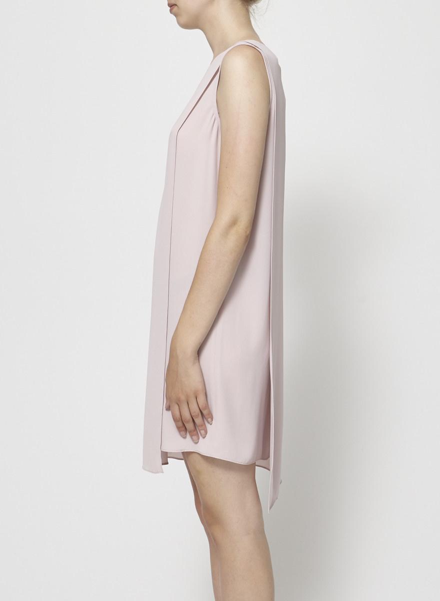 BCBG Max Azria Robe rose pâle devant croisé