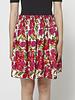 Velvet Floral-Print Silk Dress with Elastic Waist