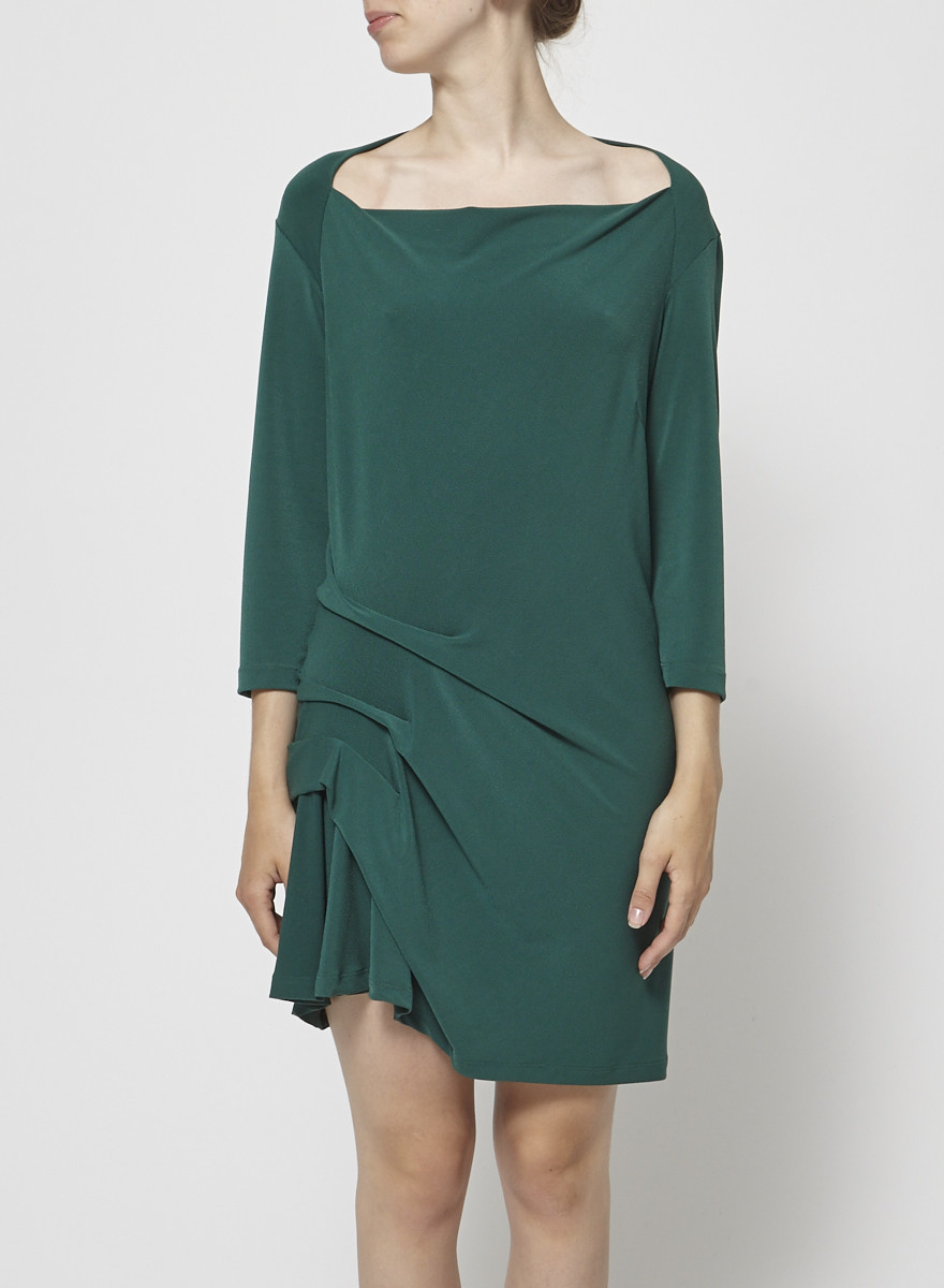 Veronique Miljkovitch Green Pleated Dress