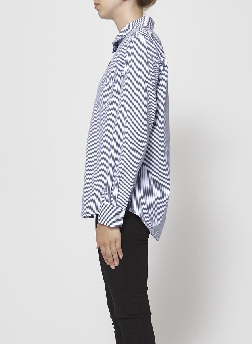 Francois Beauregard Chemise rayée bleu et blanc