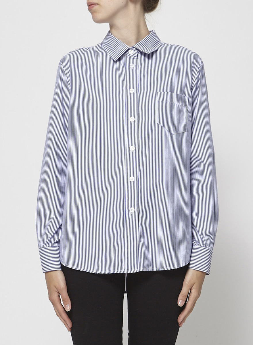 Francois Beauregard White and Blue Striped Shirt