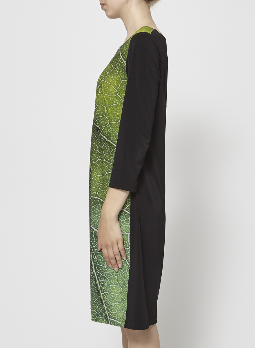Barbeau Black Dress with Green Leaf Print