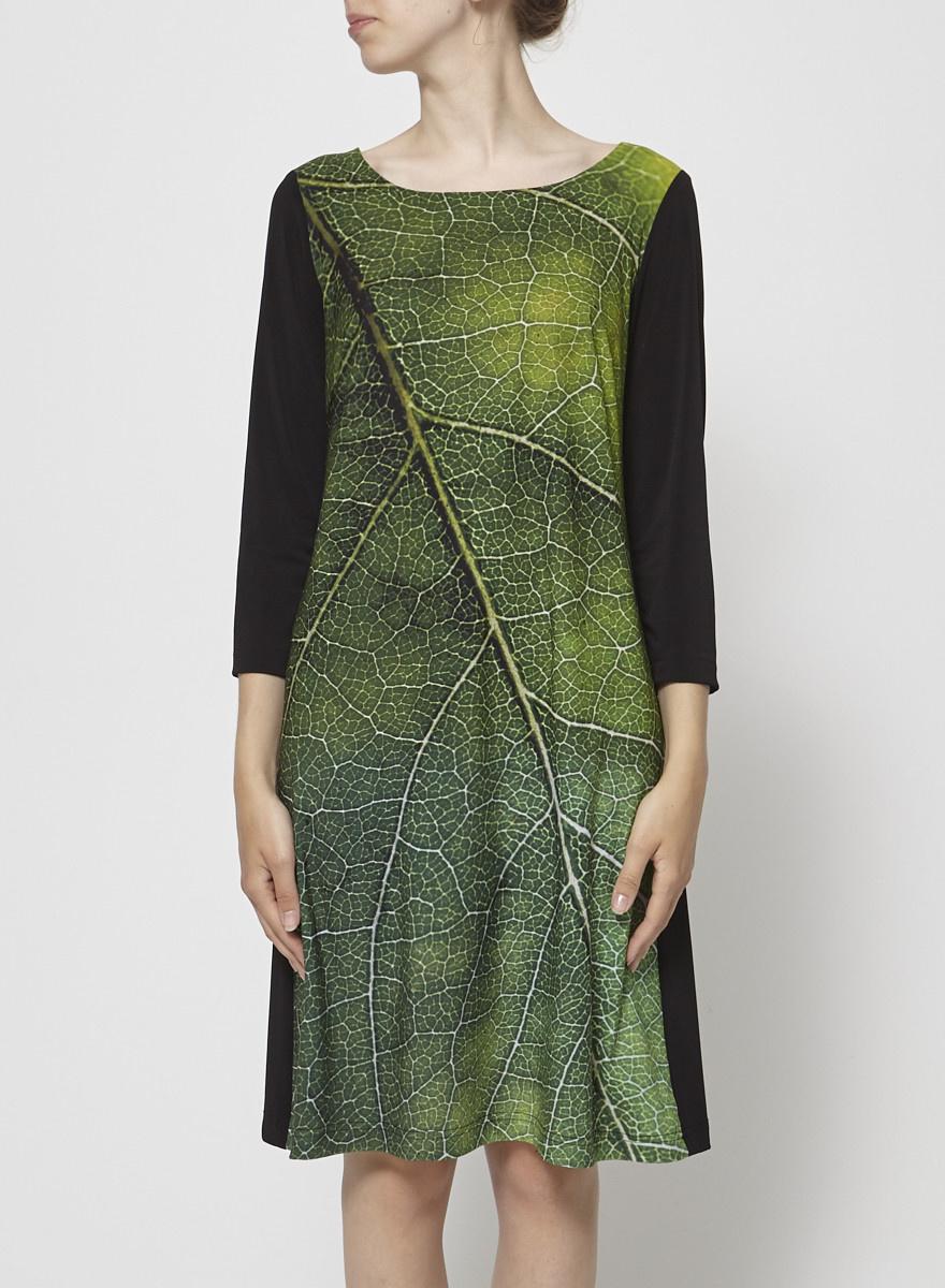 Barbeau Robe noire imprimé feuille verte