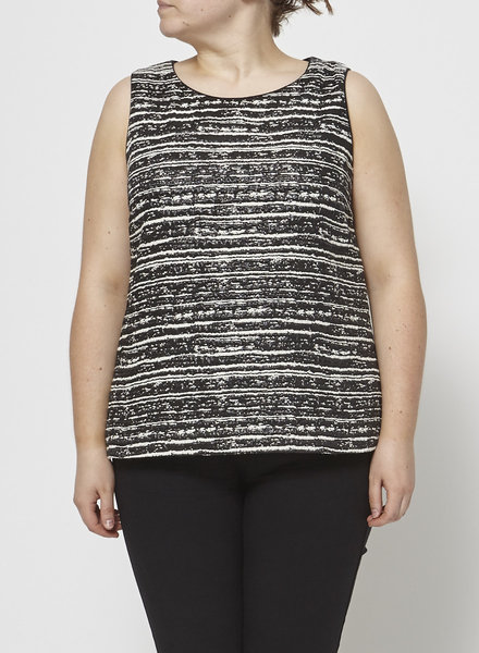 Pink Tartan SLEEVELESS METALLIC BLACK & WHITE TOP