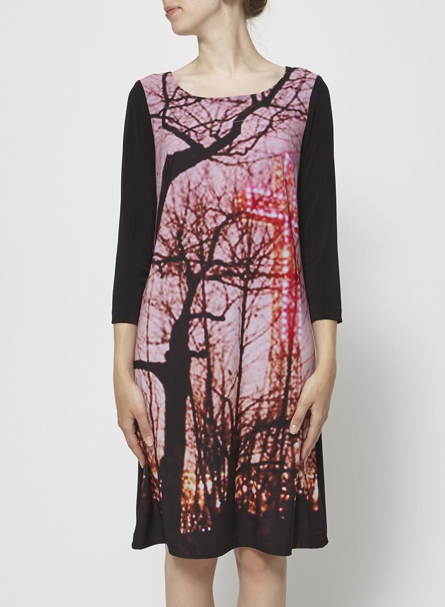 Barbeau Black Dress with Mont-Royal Cross Print