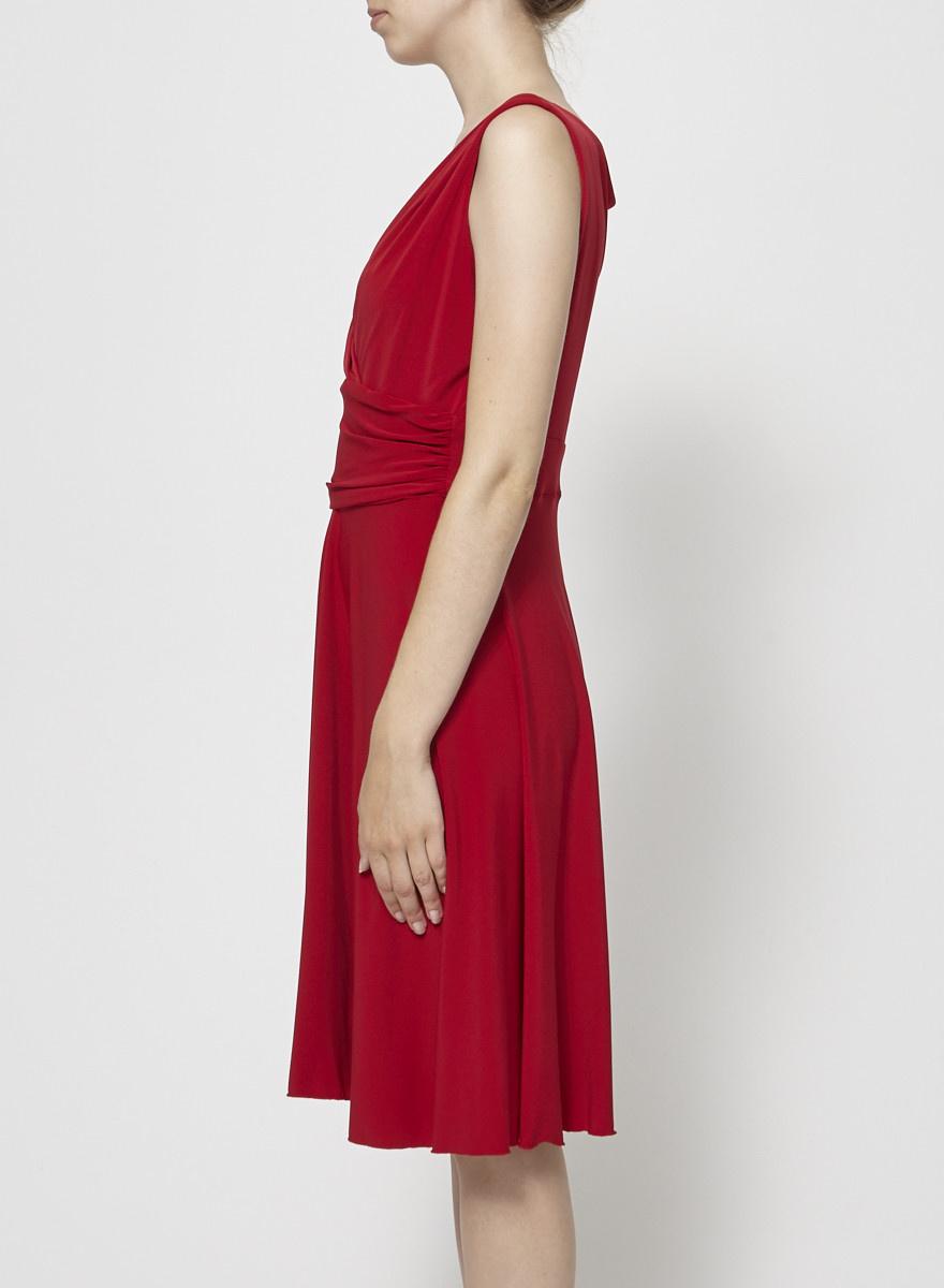 Barbeau Robe rouge croisée devant