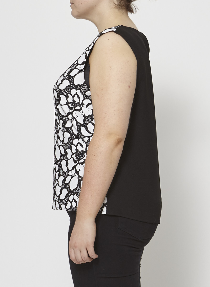 Diane von Furstenberg Floral Black & White Sleeveless Top