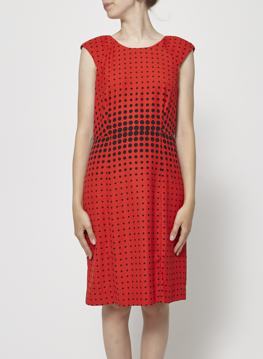 J.Crew Red Dress with Black Dots