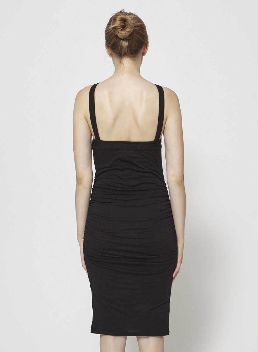 Velvet by Graham & Spencer Robe noire moulante bretelle croisées au devant