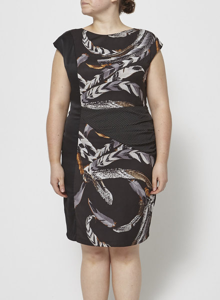 Eve Gravel FEATHER PRINTED BLACK DRESS