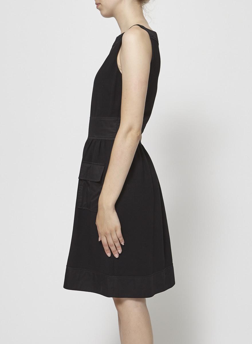 Diane von Furstenberg Robe noire sans manches à poches satinées