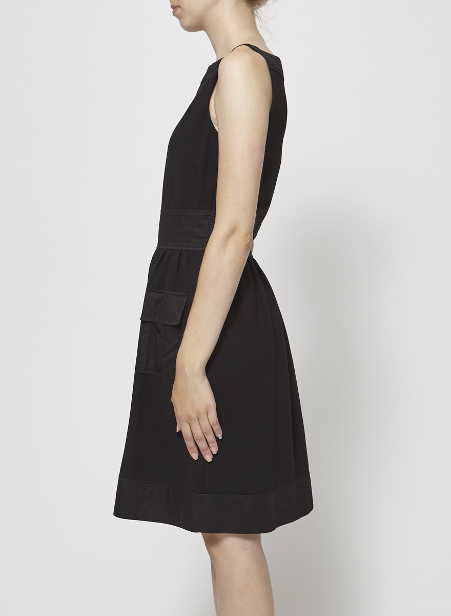 Diane von Furstenberg Satin Pocket Sleeveless Black Dress