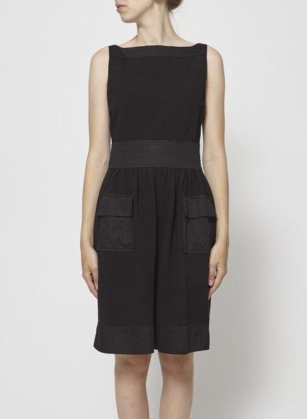 Diane von Furstenberg SATIN POCKET SLEEVELESS BLACK DRESS