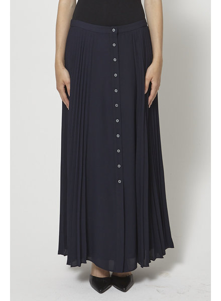 Banana Republic NAVY BUTTON-EMBELLISHED PLEATED MAXI SKIRT