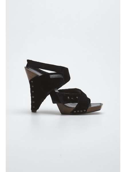 Chanel BLACK VELVET AND WOODEN HEELS SANDALS