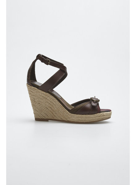 Burberry BROWN WEDGE LEATHER SANDALS