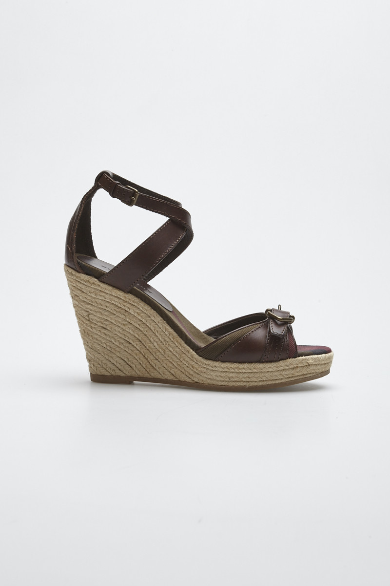 6fb77ab3fff Brown Wedge Leather Sandals - Burberry