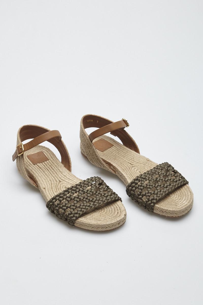 Tory Burch Beige and Khaki Woven Sandals