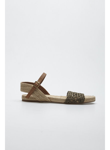 Tory Burch BIEGE AND KHAKI WOVEN SANDALS