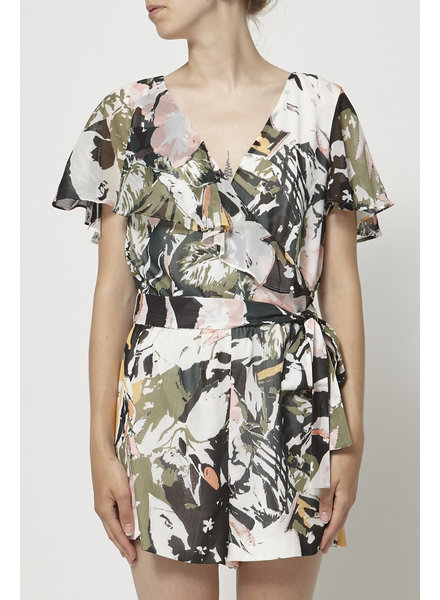 Club Monaco RUFFLED FLORAL-PRINT PLAYSUIT
