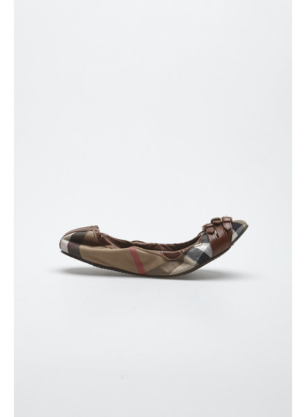 Burberry BROWN LEATHER AND TARTAN BALLERINAS
