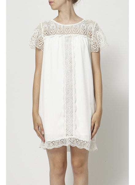 Joie WHITE LACE-PANELED DRESS