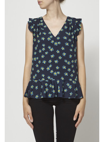 Banana Republic NAVY FLORAL-PRINT RUFFLED TOP