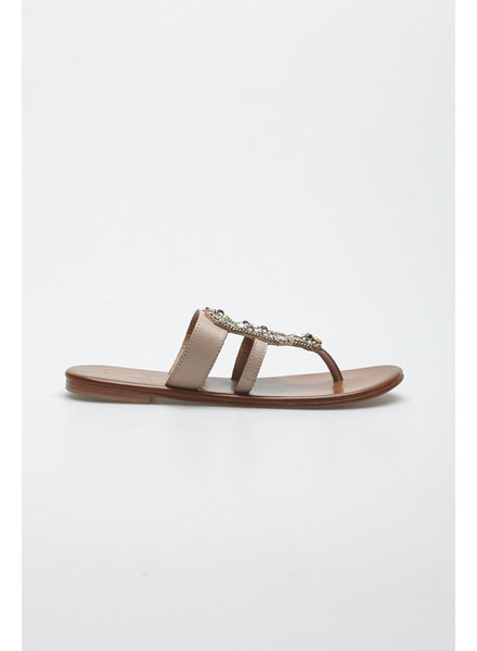 Anthropologie PINK AND BROWN LEATHER SANDALS WITH JEWELRY YOKE