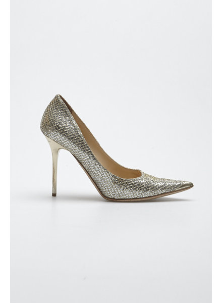 Jimmy Choo GOLDEN LEATHER AND SILVER SEQUINS PUMPS