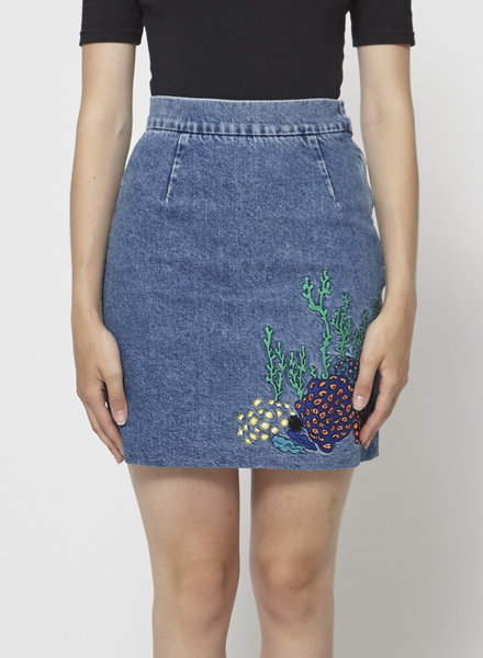 & Other Stories EMBROIDERED DENIM SKIRT