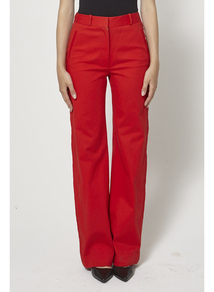 DUY SCARLET RED FLARED LEG TROUSERS