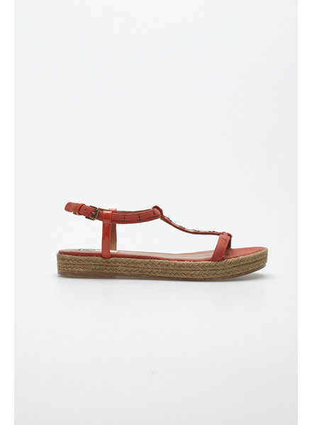 Lanvin ORANGE LEATHER SANDALS WITH WOVEN SOLE