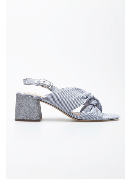 J.Crew TWISTED-KNOT PENNY SANDALS WITH GLITTER HEEL