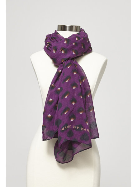 Marc by Marc Jacobs PURPLE SCARF BLACK AND BROWN PATTERN