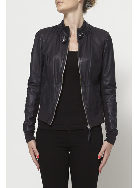 Brogden NAVY COTTON AND LEATHER JACKET