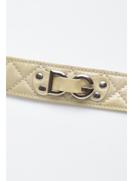 Dolce & Gabbana BEIGE PATENT LEATHER BELT