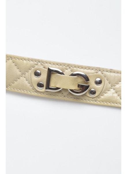 Dolce & Gabbana CEINTURE BEIGE EN CUIR VERNI MATELASSÉ