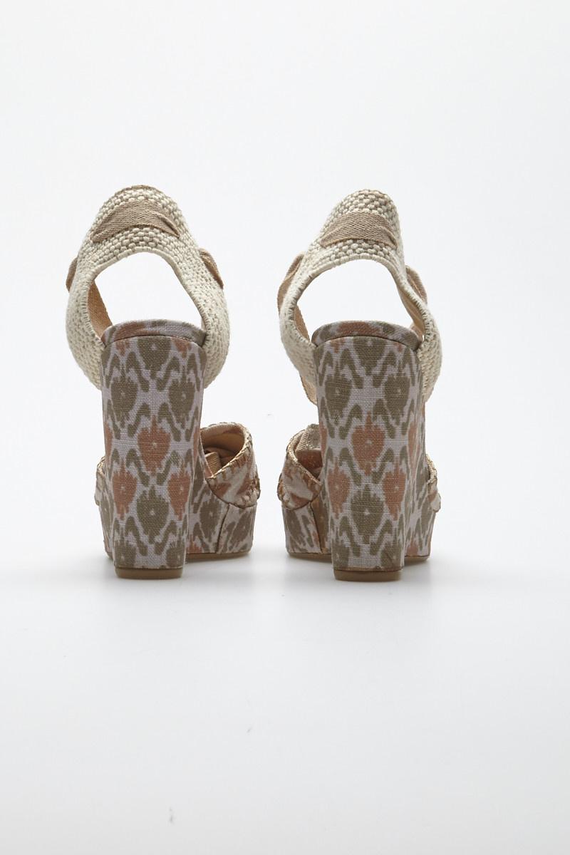 Theodora & Callum Biarritz Printed Canvas Wedge Sandals