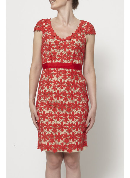 Hoss Intropia RED GUIPURE LACE DRESS