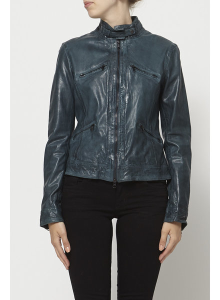 M0851 TEAL LEATHER JACKET - NEW